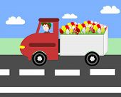 pic of truck-cabin  - Truck driving on the freeway transportation flowers - JPG