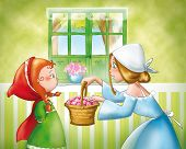 stock photo of little red riding hood  - Mom is giving a small basket to Little Red Riding Hood - JPG