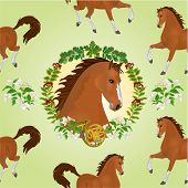 stock photo of stallion  - Seamless  texture  hestnut Horse head of stallion leaves and french horn hunting theme vector illustration - JPG