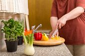 stock photo of obese man  - a healthy nutrition for a thick man - JPG