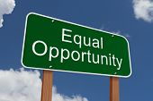 picture of equality  - Equal Opportunity Sign Green highway sign with words Equal Opportunity with sky background - JPG