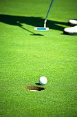 Golf ball before entering the hole