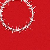 pic of crown-of-thorns  - An illustration of a crown of thorns worn by Jesus Christ over a texture red background - JPG