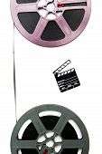 pic of clapper board  - Two vintage 8mm purple and grey movie reels vertically connected with film and small clapper board isolated on white background - JPG
