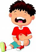 stock photo of crying boy  - Vector illustration of Cartoon boy crying with a scratch on his knee - JPG
