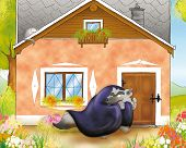 picture of little red riding hood  - The big bad wolf is knocking at the granny - JPG