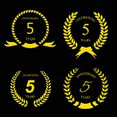 picture of 5s  - 5 five years anniversary golden label with ribbon vector illustration - JPG