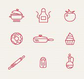picture of bast  - cookery kitchen icon bast set best illustrations in a modern style - JPG