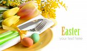 pic of mimosa  - Easter table setting with yellow tulips and mimosa - JPG