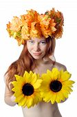 picture of topless  - topless redhead girl with a wreath of colorful flowers - JPG