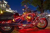 Chrome Motorcycle With Custom Lights