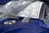 image of clutch  - Set of female accessories of the clutch watches brooches and tiaras - JPG