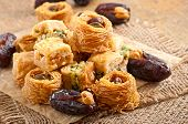 stock photo of lenten  - Oriental sweets and dates stuffed with cashew - JPG