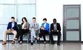 pic of candid  - Business people waiting for job interview - JPG