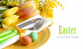 foto of mimosa  - Easter table setting with yellow tulips and mimosa - JPG