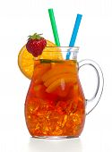 image of iced-tea  - Fresh and cold ice tea with sliced orange isolated on white background - JPG