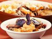 image of veal  - Macaroni with veal casserole shot from below - JPG