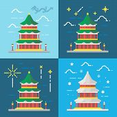 image of winter palace  - Flat design 4 styles of summer palace Beijing China illustration vector - JPG