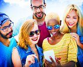 pic of bonding  - Diverse Summer Friends Fun Bonding Smart Phone Concept - JPG