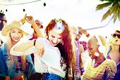 picture of bonding  - Friendship Dancing Bonding Beach Happiness Joyful Concept - JPG