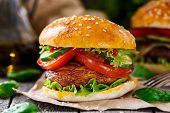 stock photo of champignons  - Vegetarian burger with grilled champignon - JPG
