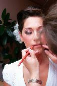 Beautiful Brunette Young Bride Prepare By Makeup Artist