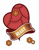 image of mechanical drawing  - mechanical heart belted ribbons and decorated with metal parts in the style of steam punk badge on a white background - JPG