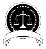picture of scale  - Law or Lawyer Seal With Banner is an illustration of a one color design for law - JPG