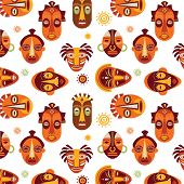 picture of african mask  - African masks colorful pattern - JPG