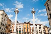 foto of vicenza  - View of the two columns and some typical palaces in the main square of Vicenza - JPG