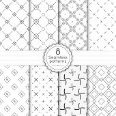 stock photo of diagonal lines  - Vector set seamless pattern with vintage old banner and ribbon - JPG