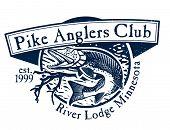 stock photo of musky  - Vintage pike fishing emblem - JPG