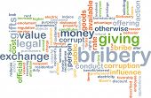 stock photo of bribery  - Background concept wordcloud illustration of bribery - JPG