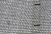 stock photo of shingle  - church roof covered with wooden shingles and stairs - JPG