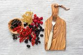 picture of blackberries  - tasty summer fruits on a wooden table - JPG