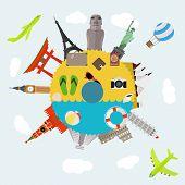 image of world-famous  - Illustration of flat design travel composition with famous world landmarks icons - JPG