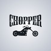 picture of chopper  - classic chopper motorcycle theme vector art illustration - JPG