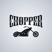 stock photo of chopper  - classic chopper motorcycle theme vector art illustration - JPG