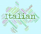 picture of dialect  - Italian Language Indicating Translator International And Wordcloud - JPG