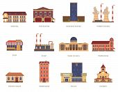 picture of fire-station  - Vintage city buildings of hospital fire station and downtown business center icons set abstract isolated vector illustration - JPG