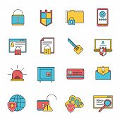 picture of malware  - Computer security virus malware removal and protection service shield software line icons collection abstract isolated vector illustration - JPG