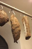 stock photo of guanciale  - Traditional Italian sausages called guanciale toscano - JPG