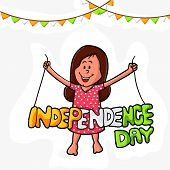 stock photo of indian independence day  - Cute little girl holding tricolor text Independence Day on buntings decorated background for Indian National Festival celebration - JPG