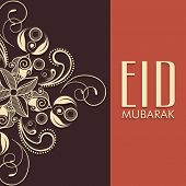 foto of eid festival celebration  - Beautiful floral design decorated greeting card in two colors for Muslim community festival - JPG