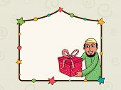 stock photo of occasion  - Stylish colorful stars decorated blank frame with illustration of a young Muslim man holding gift on occasion of Islamic famous festival - JPG