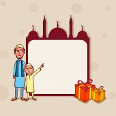 stock photo of occasion  - Stylish blank frame in mosque shape with wrapped gifts and illustration of Muslim father and son enjoying on occasion of holy Islamic festival - JPG