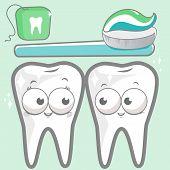 stock photo of toothbrush  - Vector dental set of  cute cartoon teeth smiling - JPG