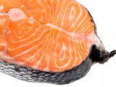stock photo of salmon steak  - Raw salmon steak isolated on white background - JPG