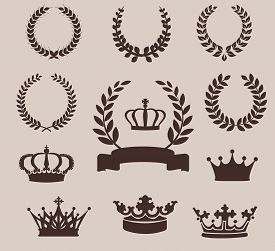 stock photo of emblem  - Set of laurel wreaths and crowns - JPG