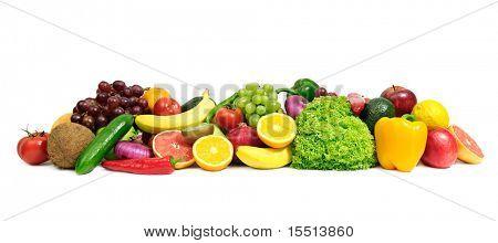 Постер, плакат: фрукты и овощи изолированные на белом, холст на подрамнике